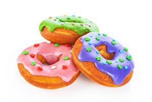 Papel de Parede Desktop Donut Acucar glace Fundo branco Três 3 Pequenas estrelas