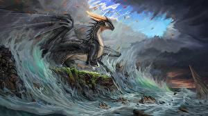 Wallpapers Dragons Waves Black Timi Honkanen Fantasy