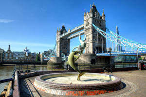 Pictures England Bridges Rivers Fountains London Waterfront HDR