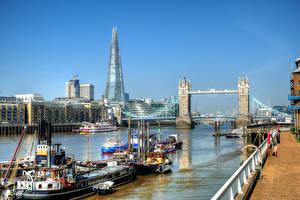 Bilder England Fluss Brücke Binnenschiff Gebäude London Waterfront Städte