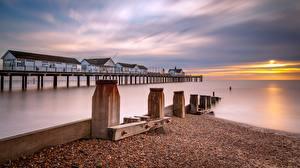 Hintergrundbilder England Morgendämmerung und Sonnenuntergang Meer Bootssteg Southwold Pier
