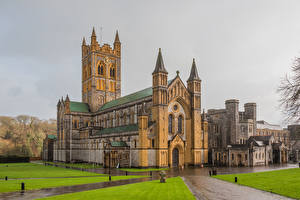 Hintergrundbilder England Tempel Kloster Regen Buckfast Abbey Städte