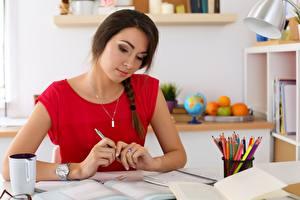 Image Female students Table Book Mug Notebooks