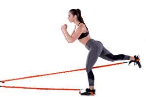 Fotos Fitness Bein Gesäß Körperliche Aktivität Weißer hintergrund Mädchens