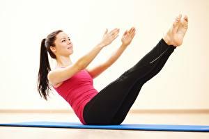 Bilder Fitness Bein Hand Körperliche Aktivität Mädchens
