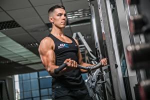 Fotos Fitness Mann Turnhalle Trainieren Hand Muskeln Sport