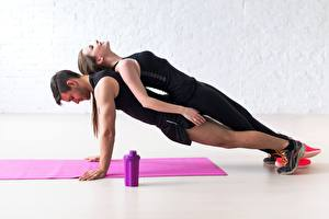 Photo Fitness Men Two Workout Push-up Plank (exercise) Sport Girls