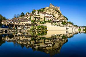 Bilder Frankreich Flusse Gebäude Spiegelt Felsen Dordogne, Beynac-et-Cazenac Natur