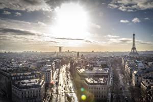 Fotos Frankreich Himmel Paris Horizont Von oben Place Charles de Gaulle Städte