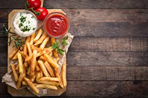 Wallpapers French fries Tomatoes Cutting board Bowl Ketchup Wood planks Food