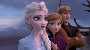 Tapety na pulpit Kraina lodu 2013 Disney Młody człowiek Warkocze Kristoff, Anna, Elsa kreskówka Grafika_3D Dziewczyny