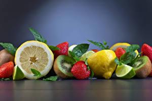 Fotos Obst Erdbeeren Zitrone Chinesische Stachelbeere das Essen