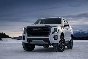 Bilder GMC Vorne Weiß Metallisch Schnee SUV Yukon, AT4, 2020 automobil