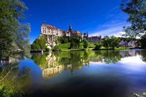 Fotos Deutschland Burg Fluss Spiegelt Bäume Felsen