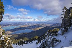 Pictures Germany Lake Mountains Bavaria Snow Horizon Lake Forggensee Nature