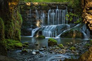 Hintergrundbilder Deutschland Steine Fluss Wasserfall Bayern Laubmoose