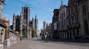 Photo Ghent Belgium Building Street Bike