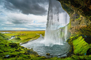Pictures Iceland Mountain Waterfalls Rock  Nature