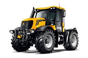 Fotos Traktor Gelb Weißer hintergrund JCB Fastrac 3230