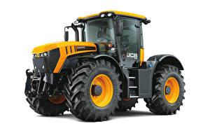 Bilder Traktoren Gelb Weißer hintergrund JCB, Fastrac 4220