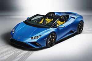 Fotos Lamborghini Blau Metallisch Roadster Spyder, Huracan, 2020, RWD Autos