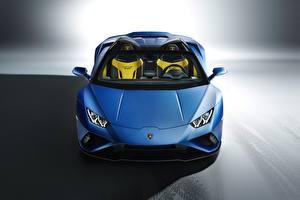 Hintergrundbilder Lamborghini Blau Roadster Vorne Spyder Huracan 2020 RWD EVO automobil