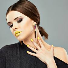 Picture Lips Fingers Brown haired Face Makeup Manicure young woman