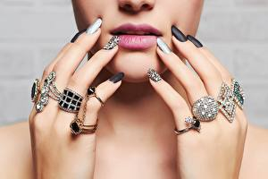 Wallpapers Lips Fingers Jewelry Diamond cut Face Manicure Jewelry ring young woman