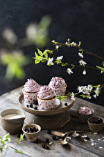 Wallpapers Little cakes Cherry Fairy cake Boards Branches Spoon