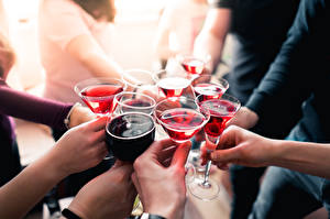 Image Many Wine Hands Blurred background Stemware
