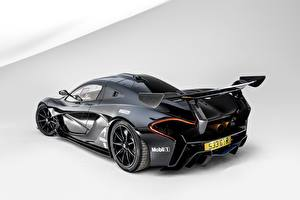 Wallpaper McLaren Black Back view GTR Road by Lanzante Cars
