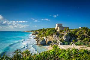 デスクトップの壁紙、、メキシコ、海岸、廃墟、空、Tulum, Quintana Roo、自然