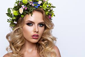 Pictures Model Beautiful Blonde girl Makeup Hair Wreath Glance Haircut White background