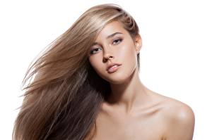 Pictures Modelling Beautiful Makeup Hair Staring White background young woman