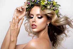 Picture Model Blonde girl Hands Face Makeup Hair Wreath Beautiful
