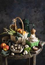 Bilder Pilze Äpfel Weidenkorb Ei Spargel Lebensmittel