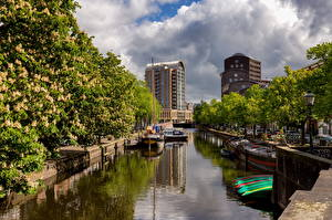 Picture Netherlands Boats Houses Canal Clouds Hague Cities