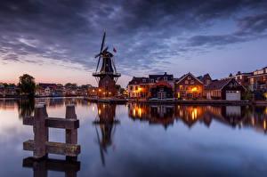 Bilder Niederlande Abend Haus Kanal Mühle Bucht Haarlem, Papentorenvest Städte