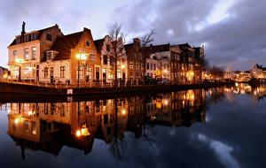 Bilder Niederlande Haus Flusse Abend Straßenlaterne Haarlem Städte
