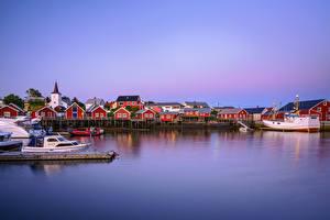 Hintergrundbilder Norwegen Lofoten Seebrücke Boot Haus