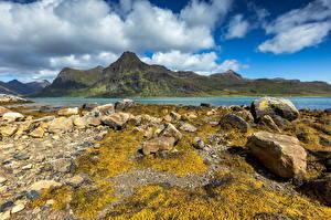 Hintergrundbilder Norwegen Lofoten Gebirge Stein Wolke
