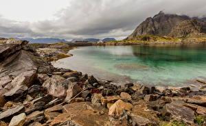 Fotos Norwegen Lofoten Gebirge Steine Wolke