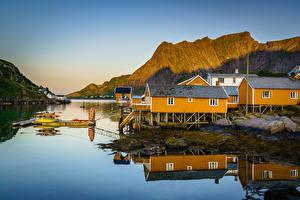 Hintergrundbilder Norwegen Berg Lofoten Haus
