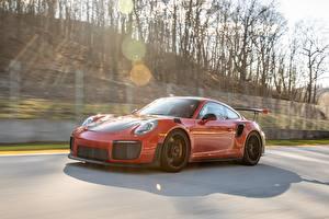 Hintergrundbilder Porsche Rot Geschwindigkeit GT2 RS 991 type II Autos