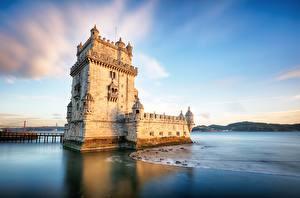 桌面壁纸,,葡萄牙,要塞,岸,天空,塔式建築,,