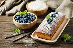 Pictures Pound Cake Baking Blueberries Berry Powdered sugar Bowl Food
