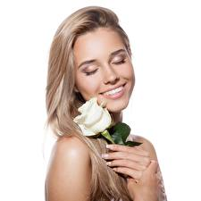 Picture Rose Blonde girl Pretty Smile Hair White background Girls Flowers
