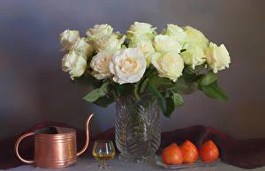 Fotos Rosen Wein Kaki Vase Weinglas Blumen Lebensmittel
