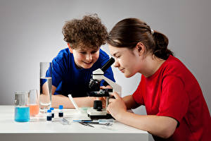 Images School Little girls Boys 2 Microscope child