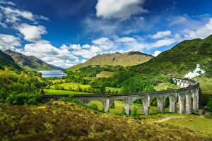 桌面壁纸,,蘇格蘭,山,天空,橋,風景攝影,云,Glenfinnan, Lochaber, steam train,